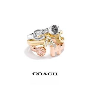 NWT Coach Tri-color Stackable Ring Set
